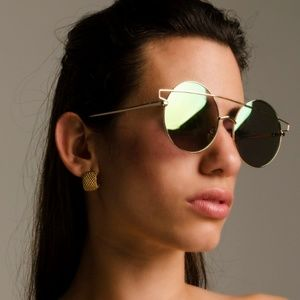 Accessories - GOLD ROUND MIRRORED SUNGLASSES PINKISH LENS